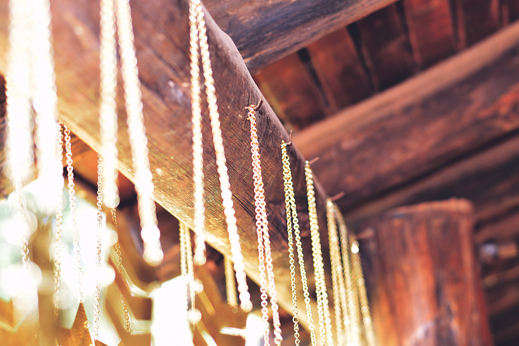 hanging necklaces closeup